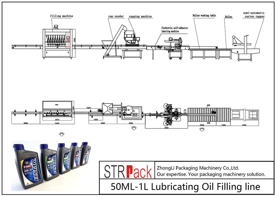 Automatisk 50ML-1L smøreoliepåfyldningslinie
