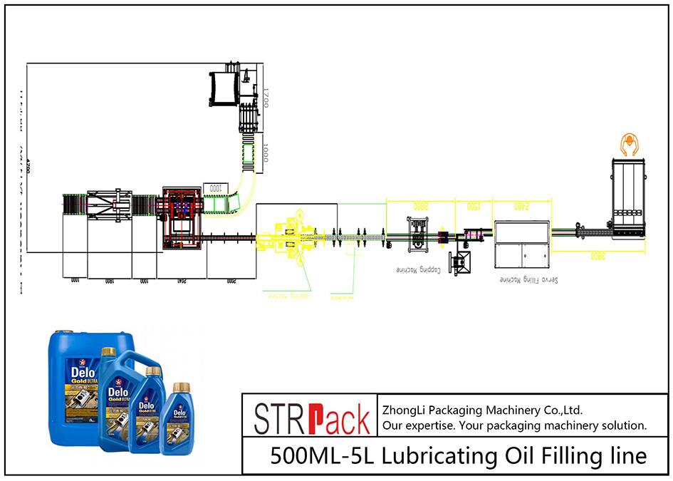 Automatisk 500ML-5L smøreoliepåfyldningslinie